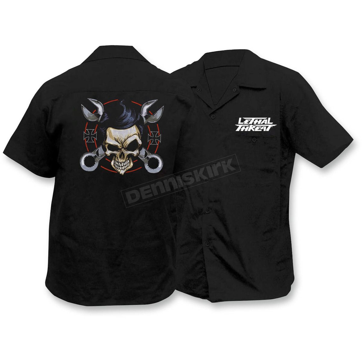 Lethal threat wrench skull embroidered work shirt for Embroidered work shirts online
