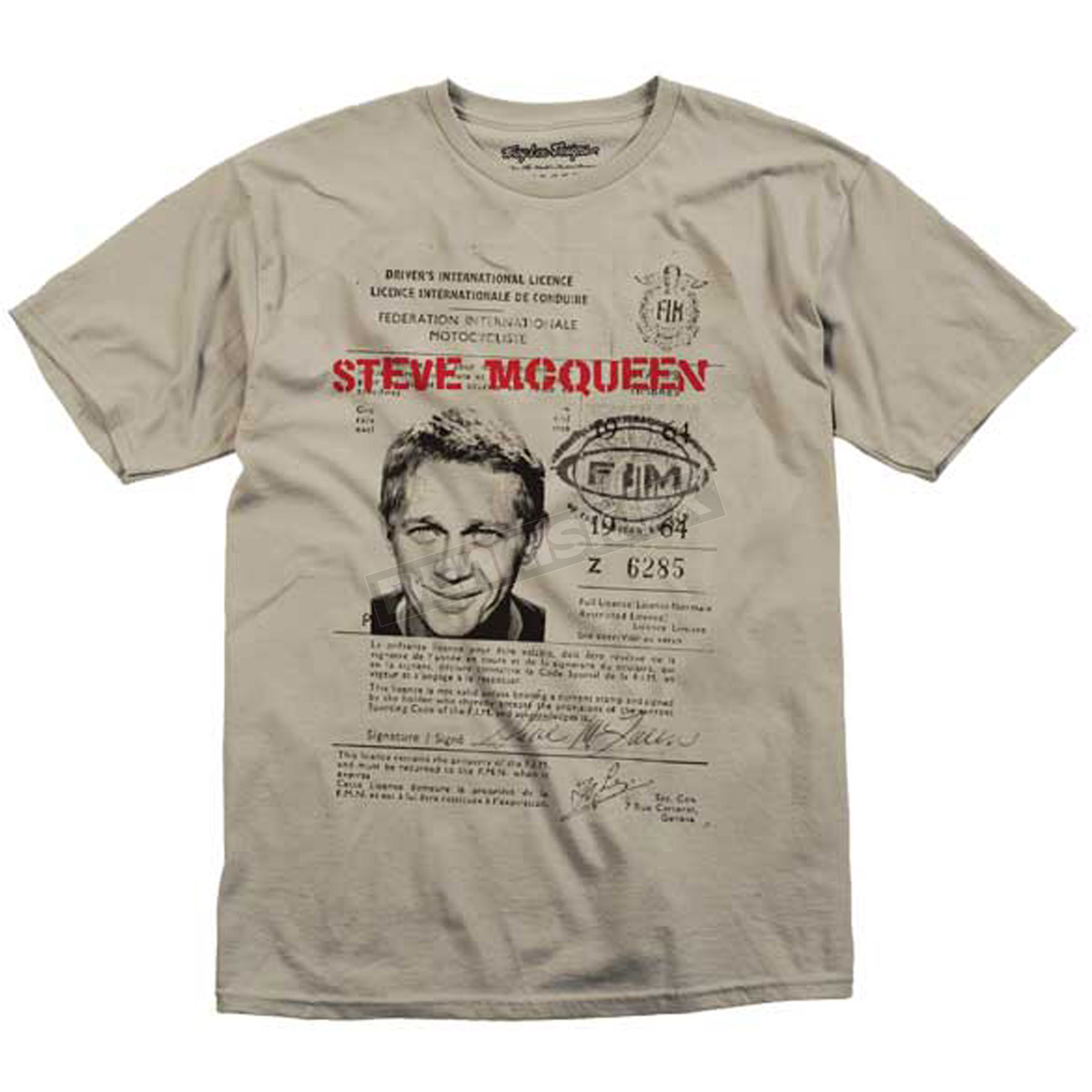 Troy lee designs mcqueen drivers license t shirt 1602 for T shirt licensing agreement