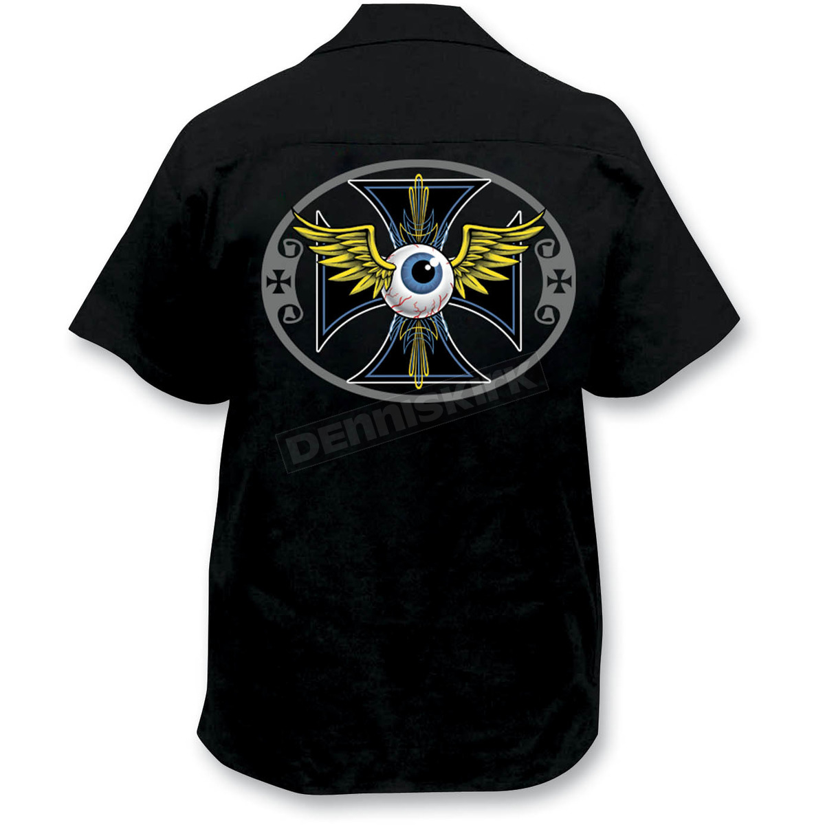 Lethal threat pinstripe eyeball embroidered work shirt for Embroidered work shirts online