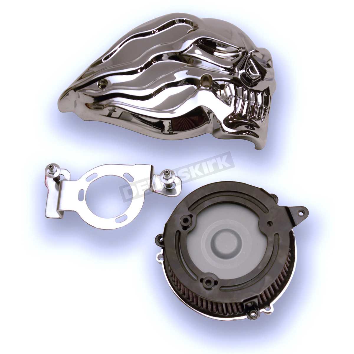 Custom Motorcycle Air Cleaners : Custom cycle chrome flame skull air cleaner assembly