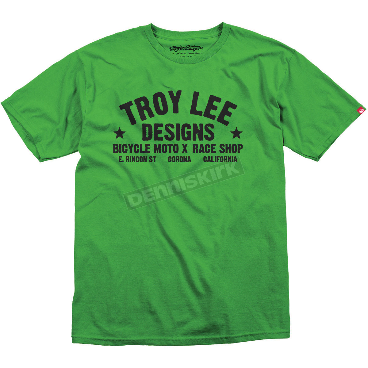 Troy lee designs lime green race shop t shirt 1632 0712 for Bike and cycle shoppe shirt